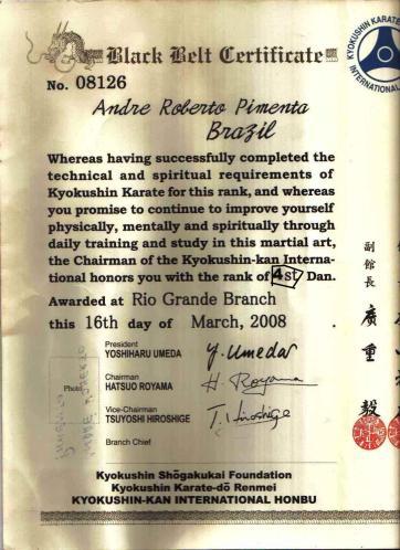 """A visível falsificação d eum dos documentos do """"Shihan"""""""